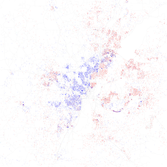 Map of racial distribution in Jackson, 2010 U.S. Census. Each dot is 25 people: White, Black, Asian, Hispanic or Other (yellow) Race and ethnicity 2010- Jackson (5560427030).png