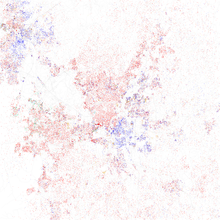 Map Of Racial Distribution In Raleigh 2010 U S Census Each Dot Is 25 People White Black Asian Hispanic Or Other Yellow
