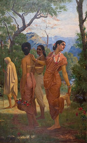 Shakuntala (play) - Shakuntala Looking Back to Glimpse Dushyanta, scene from Shakuntala painted by Raja Ravi Varma