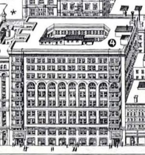 Downtown - Chicago's Rand McNally Building of 1889, the world's first all-steel-framed building, no longer extant