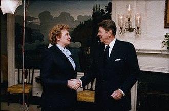 Arliss Sturgulewski - Sturgulewski greeting President Ronald Reagan in 1986