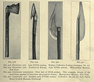 Bardiche - Several medieval battle axes including a 14th-century Austrian Bardiche