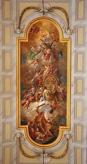 Domenico Mondo - Image: Reggia di caserta, sala degli alabardieri, con le armi di casa borbone sostenute dalle virtù, di domenico mondo, 1789