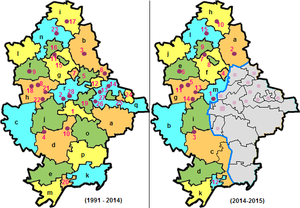 Administrative divisions of Donetsk Oblast - Raions and cities of Donetsk Oblast on 1991-2014 and 2015. The grey area is not under control of the central government of Ukraine.  Districts (raions): a — Amvrosiivka, b — Bakhmut, c — Velyka Novosilka, d — Volnovakha, e — Nikolske, f — Dobropillia, g — Kostiantynivka, h — Pokrovsk, i — Lyman, j — Marinka, k — Novoazovsk, l — Oleksandrivka, m — Manhush, n — Sloviansk, o — Starobesheve, p — Telmanove, q — Shakhtarsk, r — Yasynuvata,    City of regional significance: 1 — Donetsk, 2 — Avdiivka, 3 — Bakhmut, 4 — Vuhledar, 5 — Horlivka, 6 — Debaltseve, 7 — Toretsk, 8 — Myrnohrad, 9 — Dobropillia, 10 — Dokuchaievsk, 11 — Druzhkivka, 12 — Yenakiieve, 13 — Zhdanivka, 14 — Kirovske, 15 — Kostiantynivka, 16 — Kramatorsk, 17 — Lyman, 18 — Pokrovsk, 19 — Makiivka, 20 — Mariupol, 21 — Novohrodivka, 22 — Selydove, 23 — Sloviansk, 24 — Snizhne, 25 — Torez, 26 — Khartsyzk, 27 — Shakhtarsk, 28— Yasynuvata