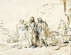 Bleib bei uns, denn es will Abend werden, BWV 6 - Christ with Two Disciples, by Rembrandt