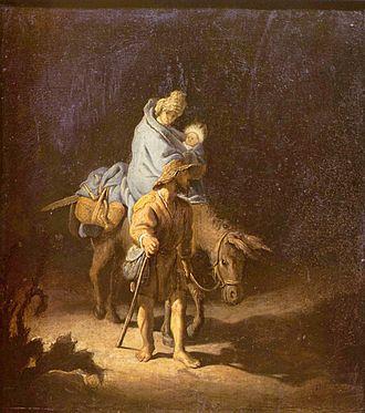 The Flight into Egypt (Rembrandt) - The Flight into Egypt, 1627.  27.5 x 24.7 cm, oil on panel. Musée des Beaux-Arts de Tours