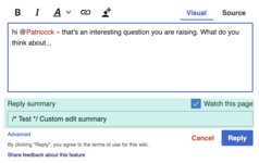 A screenshot showing an approach for incorporating custom edit summary functionality into the Reply Tool.