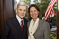 Retired U.S. Sen. John Warner, the Evening Parade guest of honor and a former secretary of the Navy, and his wife, Jeanne Vander Myde Warner, pose for a photo during a reception in honor of Sen. Warner at 130503-M-LU710-106.jpg