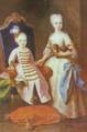 Retrato do Príncipe D. Pedro e Infanta D. Maria Bárbara (c. 1725) - Domenico Duprà (Tecto da Sala dos Tudescos, Paço Ducal de Vila Viçosa) - cropped.png