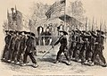 Review of Federal Troops on 4 July by President Lincoln and General Scott, the Garibaldi Guard filing past - ILN 1861.jpg