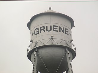 Gruene, New Braunfels, Texas - The Gruene water tower stands guard over the town on a bluff above the Guadalupe River.