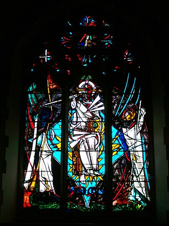 Patrick Reyntiens - East window of St Michael and All Angels Church, Marden representing Christ in Majesty (1962)