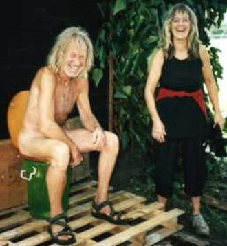 Penny Rimbaud - Penny Rimbaud (on the composting toilet) and Gee Vaucher, 2002