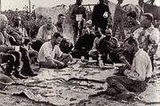 The initial party. From left to right (seated): Father Zahm, Rondon, Kermit, Cherrie, Miller, four Brazilians, Roosevelt, Fiala. Only Roosevelt, Kermit, Cherrie, Rondon and the Brazilians traveled down the River of Doubt.