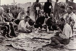The initial party. From left to right (seated): Father Zahm, Rondon, Kermit, Cherrie, Miller, four Brazilians, Roosevelt, Fiala. Only Roosevelt, Kermit, Cherrie, Rondon and the Brazilians traveled up the River of Doubt.