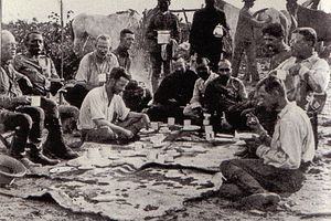 Roosevelt–Rondon Scientific Expedition - The initial party. From left to right (seated): Father Zahm, Rondon, Kermit, Cherrie, Miller, four Brazilians, Roosevelt, Fiala. Only Roosevelt, Kermit, Cherrie, Rondon and the Brazilians would descend the River of Doubt.