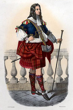 """Clan Donnachaidh - """"Robertson"""". Romanticised Victorian depiction of a member of the clan in a late 17th-century dress by R. R. McIan, from The Clans of the Scottish Highlands, published in 1845."""