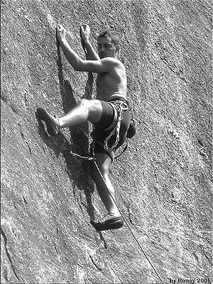 Rock climbing (B&W)