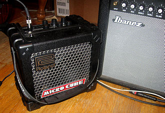 Amplifier modeling - The Roland Micro Cube, left, a small and portable digital modeling amplifier.