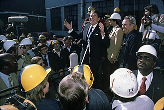 United States presidential election in Ohio, 1980 - Ronald Reagan campaigning in Youngstown, Ohio on October 8,1980.