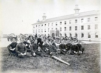 History of the Canadian Army - Cadets of the Royal Military College of Canada with several Armstrong Guns (c. 1885). The College was founded to train officers for the Permanent Active Militia.