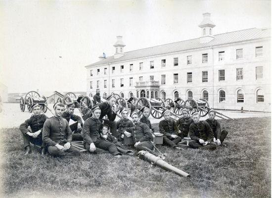 Royal Military College of Canada cadets train with armstrong field guns c 1885; Stone Frigate