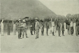 Rubber being bought at Bangassou, 1906
