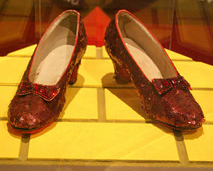 Ruby slippers - One of the pairs used in The Wizard of Oz (1939), on display at the Smithsonian Institution National Museum of American History