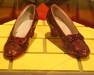 Film memorabilia - One pair of ruby slippers from The Wizard of Oz, on display at the National Museum of American History