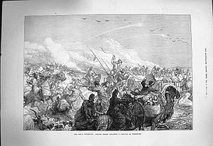 "Turkmenistan - Russians attack a Turkmen caravan 1873 (propaganda picture produced during ""The Great Game"")."