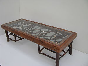 Rustic furniture - Rustic coffee table with cedar and mountain laurel branches