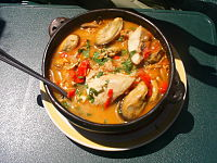 Paila marina is a common seafood soup in Chile and other South American countries.