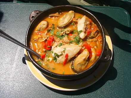 Paila marina is a common fish soup in Chile and other South American countries. A paila is an earthenware bowl. S4020436.JPG