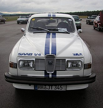 """Racing stripe - Saab 96 with """"go faster stripes"""""""