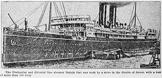 SS <i>Maloja</i> UK registered passenger steamship sunk by a mine off Dover