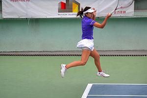 Sachie Ishizu - Image: Sachie Ishizu flying at Hong Kong tennis tournament (8843508762)