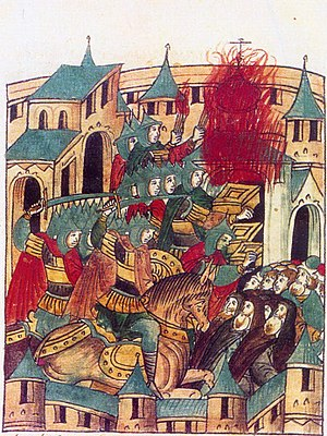 Destruction under the Mongol Empire - Drawing of Mongols inside Suzdal under Batu Khan (with sword).