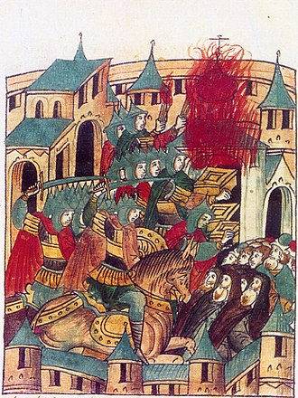 Mongol invasion of Kievan Rus' - Sacking of Suzdal by Batu Khan in February 1238; miniature from the 16th-century chronicle.