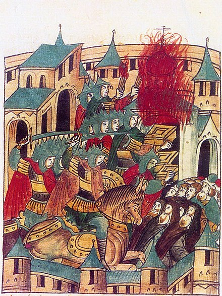 The Mongol invasion of Rus': Sacking of Suzdal by Batu Khan (1238). From the medieval Russian annals. Sacking of Suzdal by Batu Khan.jpg