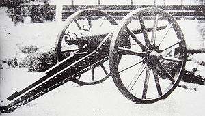 Rifled breech loader - The Armstrong gun was a pivotal development for modern artillery as the first practical rifled breech loader. Pictured, deployed by Japan during the Boshin war (1868–69).