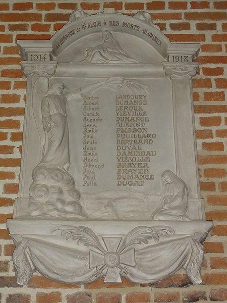 Saint-Algis (Aisne) église Saint-Algis, plaque monument aux morts