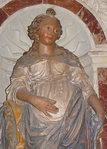 Autel et retable de Sainte-Barbe de l'église Saint-Martin de Saint-Martin-de-Connée (53). Statue. Sainte-Barbe.