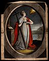 Saint Faith by the sea, holding a cross and a chalice. Wellcome V0031951.jpg
