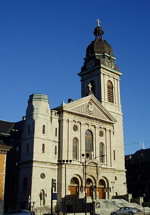 St. John Cantius Church (Chicago) - The limestone facade of St. John Cantius Church