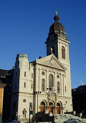 St. John Cantius Church (Chicago) - The limestone facade of St. John Cantius Church