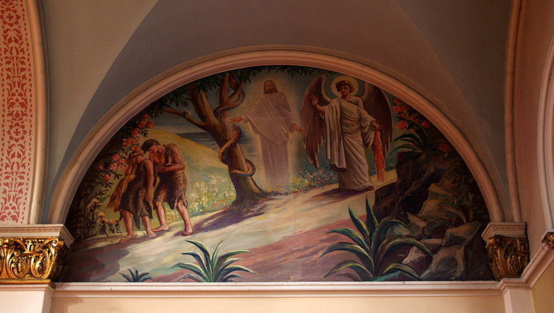 File:Saint Josaphat Catholic Church (Detroit, MI) - mural, Adam and Eve expelled from Eden.jpg