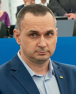 Sakharov Prize 2018 laureate Oleg Sentsov receives his award (49127359156) cropped.jpg