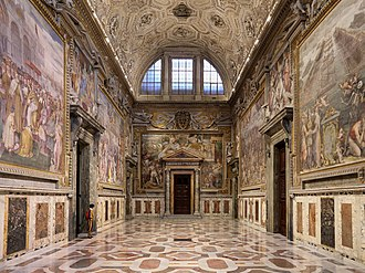 Sala Regia (Vatican) - Sala Regia. At the end of the hall is the entrance to the Pauline Chapel.
