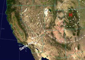 Los tipos de viento en el Oeste de los Estados Unidos dan como resultado el viento de Santa Ana.