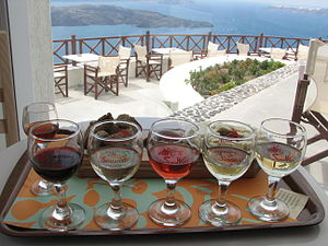 Several examples of Greek wines from Santorini...